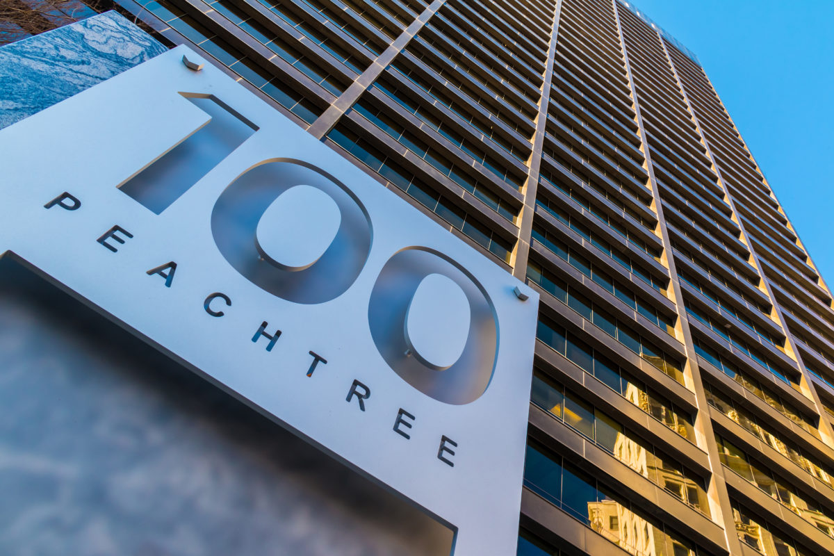 Georgia's Own Credit Union sign to hit 100 Peachtree this weekend