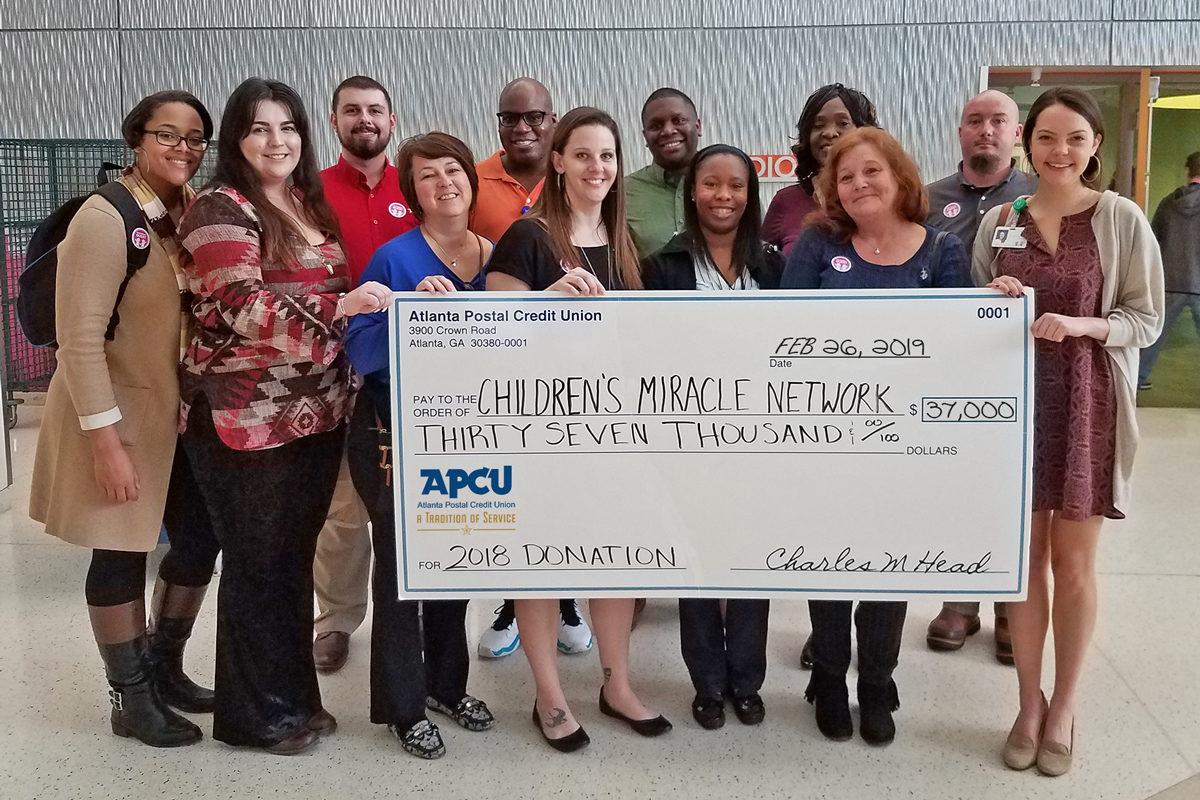Atlanta Postal Credit Union donates $37K to Children's Miracle Network