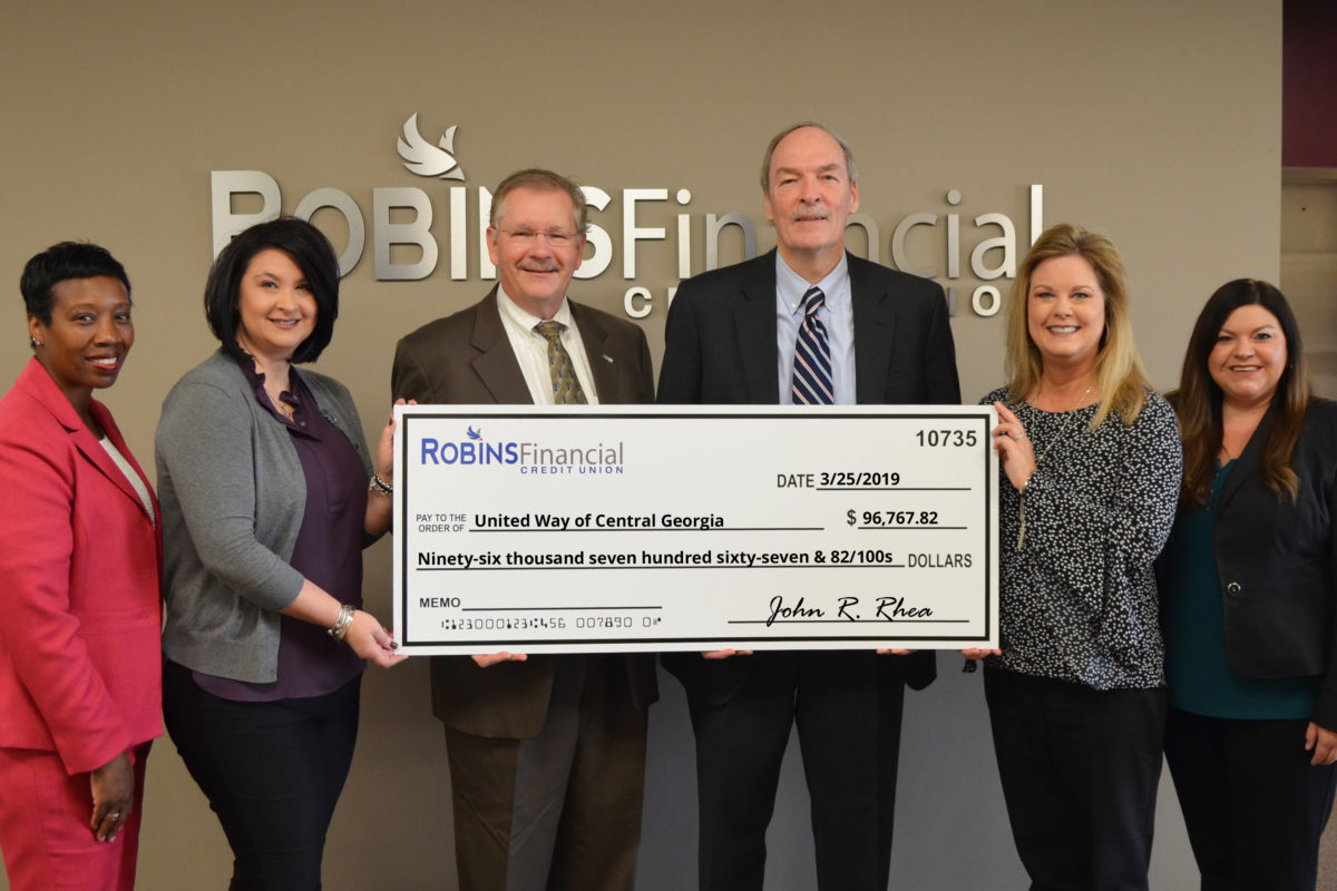 Robins Financial Credit Union contributes more than $96K to United Way of Central Georgia